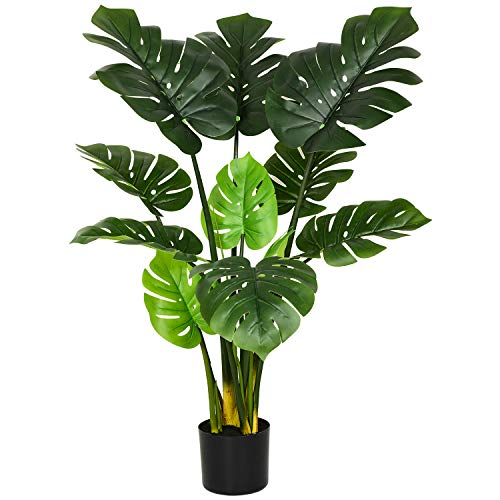 Artificial Monstera Deliciosa Plant 43' Fake Tropical Palm Tree,Artificial Plant for Home Garden Office Store Decoration (1PACK)