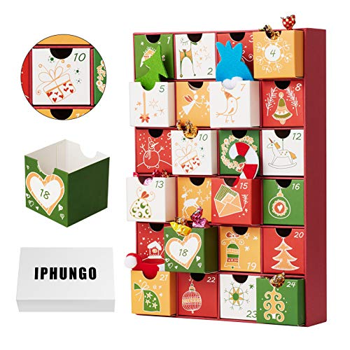 IPHUNGO Christmas Advent Calendar - 24 Numbered Opening Drawers Countdown, Thick Cardstock Box Construction Christmas Holiday Table Decoration,Winter Festive Designs,12.9