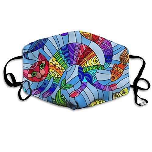 Mascarilla facial unisex con diseño de pez de gato, ajustable, antipo