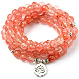 WOVP Armband Rosa Wassermelone Kristall Perlen Stein Perlen Armband Für Frauen Mädchen 108 Mala Balance Charme Yoga Schmuck