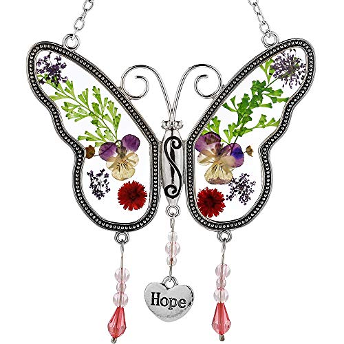 Hope Butterfly Sun Catchers Glass Suncatcher Hope Wind Chime with Pressed Flower Wings Embedded in Glass with Metal Trim Hope Heart Charm - Gifts for Mom -Mom for Birthdays Christmas (Hope)