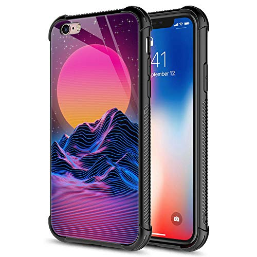 CARLOCA iPhone 6S Case,Synthwave Purple Landscape iPhone 6 Cases for Girls Women,Graphic Design Shockproof Anti-Scratch Hard Back Case for Apple iPhone 6/6S