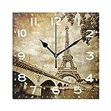 Naanle - Reloj de pared cuadrado de 8 pulgadas, de cuarzo, analógico, silencioso, para el hogar, la oficina, la escuela