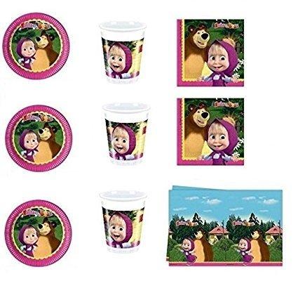 CDC – Kit N ° 9 Fête et Party Masha et orso- (32, 32 verres, 40 assiettes 40 serviettes, 1 nappe)