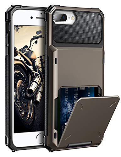 ELOVEN Case for iPhone 8 Plus Case,iPhone 7 Plus Case, iPhone 6 Plus Case with Wallet Card Hidden Credit Card Cover Drop Protection Rugged Bumper Cover for iPhone 6Plus 6S Plus 7Plus 8Plus,Gun Metal