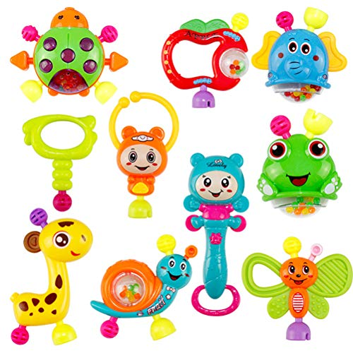 Chic Gadget Juego de sonajero y mordedor para bebé, 10 unidades, juguete para bebés, juguete para niños pequeños, juguete educativo para recién nacidos