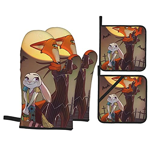 TIGGA Zootopia Pesadilla antes de Navidad Guantes de horno y soportes para ollas, juego de guantes de aislamiento de doble cara, tela impermeable para cocina, hornear, barbacoa