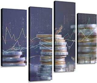 Financial investment concept, Double exposure of city night and stack Canvas Print Artwork Wall Art Pictures Framed Digita...
