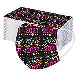 Gugavivid 2021 Feliz Año Nuevo Niños Desechables 3 Capas 𝗧𝗿𝗮𝗻𝘀𝗽𝗶𝗿𝗮𝗯𝗹𝗲 con Elástico para Los Oídos no Tejido Pack 50 Unidades