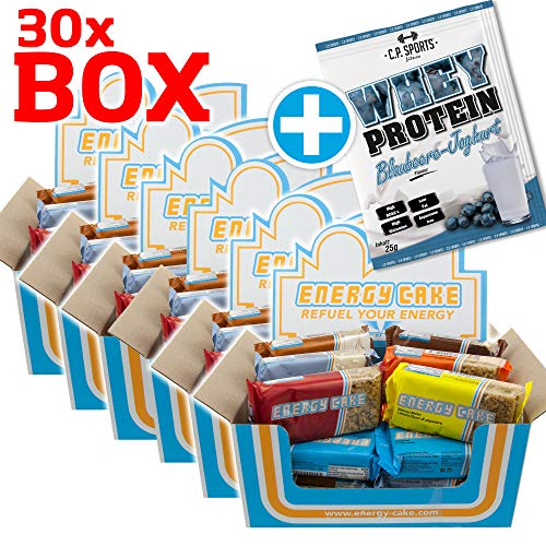 E.L.F Energy Cake - verschiedene Sorten Mix Box 30x125g,  + 1 x 25g Beutel Iso Whey GRATIS (MIX-Box, 30 Riegel)
