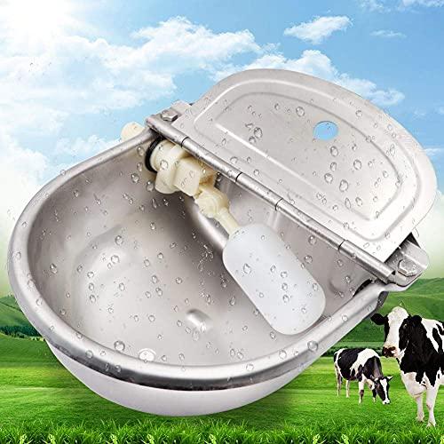 PROBEEALLYU Recipiente de agua de vaca automática, bebederos de vacas con válvula de flotación ajustable y orificio de drenaje, alimentador de ganado gran capacidad, 2 válvula de flotador incluye