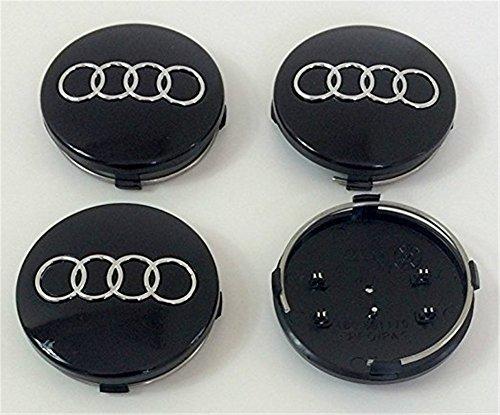 Juego de 4tapas tapas cubos para llantas (aluminio Audi A3A4A5A6A7A8S4S5S6S8S4RS4Q3Q5Q7TT S Line Quattro A4L A6L y de otros modelos negro 60mm