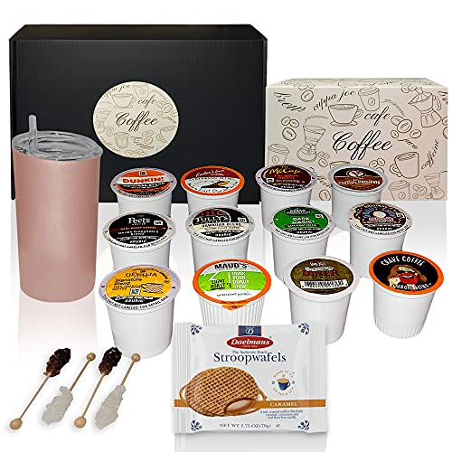K-Cup Coffee Gift Set - Coffee Lovers Gift Basket includes 12 Assorted Coffee Pods, Double insulated Cup with Straw, 4 Barista Sugar Sticks and 2 Stroopwafels for Birthday, Get Well Gifts Care Package (Coffee Gifts- Rose Gold)