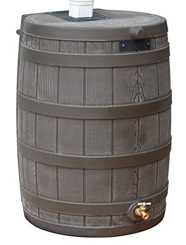 Good Ideas Rain Wizard 50 Gallon Plastic Rain Barrel Water Collector with Brass Spigot, Oak