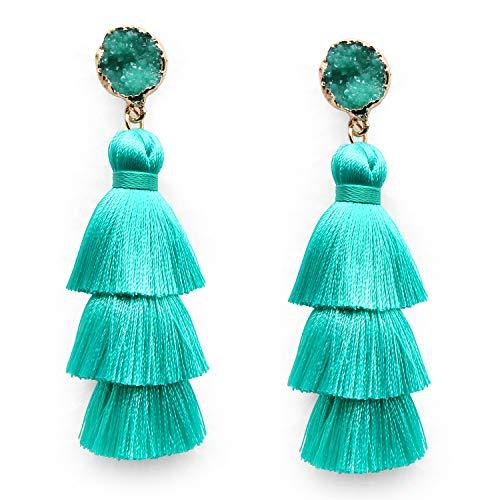 Turquoise Tassel Drop Dangle Earrings Fashion Statement Lightweight 3 Layered Tassle Long Thread Tassel Fringe Stud Earrings for Women