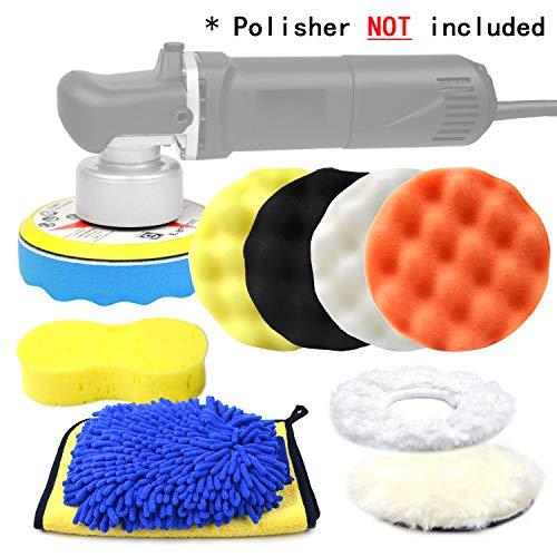 "POLIWELL 6 Inch Car Polishing & Buffing Sponge Pads Kit 5/16"" 24 Thread Backing Pad for Auto DA Random Orbital Polisher Buffer, Wool Bonnet Pad +Wash Mitt/Microfiber Cloth for Cleaning Waxing, 11PCS"