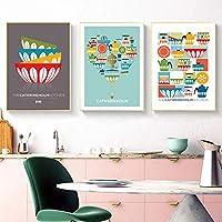 カラフルなキッチンウォールアートミッドセンチュリーホームデクロレトロキッチンポスターモダンラブポスター抽象的なハートプリント新しいホームギフトアート40x60cmx3フレームなし