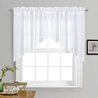 NICETOWN Kitchen Curtains Valances and Swags - Home Decor Valance Solid Color Rod Pocket Faux Linen Textured Swags for Small Window (Set of 2 Pieces, 36 inches W x 36 inches L Each Panel, White)