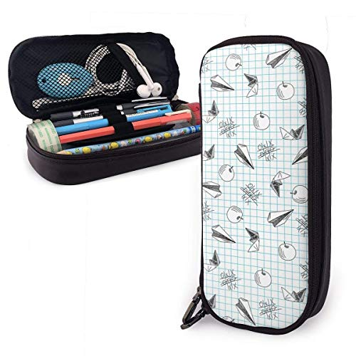 Plaid Paper Airplane Leather Pen Pencil Case Large Capacity Stationery Organizer Pouch Bag Pen Holder Box