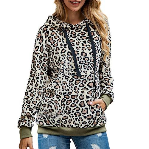 WooCo Damen Leopard Pullover Sweatshirts - Kapuzenpullover Tunika mit Taschen, Beiläufig Bluse Langarm Oberteile Tshirt(34/S,Khaki)