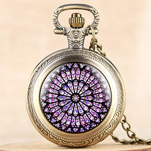 JTWMY Los Relojes de Bolsillo con vitrales de rosetón, Precioso Collar de Notre Dame De Paris, Reloj Colgante, Recuerdo, Bronce