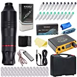 Jconly Tattoo Kit - Rotary Tattoo Machine Pen with Tattoo Power Supply and 20pcs Cartridges Needles Tattoo Pen Cover Sleeves Tattoo Grip Cohesive Bandage Practice Skin …