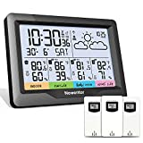 Newentor Weather Station Wireless Indoor Outdoor Multiple Sensors, Digital Atomic Clock Weather Thermometer, Forecast Weather Station with Backlight