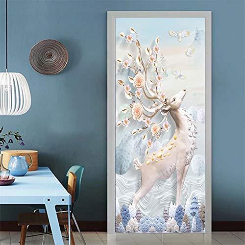 DFKJ 3D Türdekoration Aufkleber wasserdicht Türwand Selbstklebende DIY Dekoration Abziehbilder Badezimmer Schlafzimmer Tapete A19 86x200cm