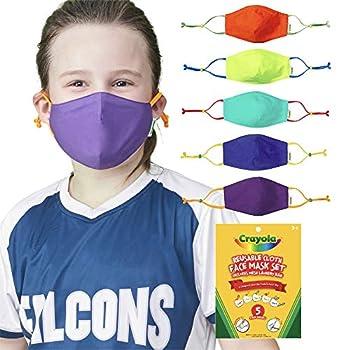 Crayola Kids Face Mask - 5 Reusable Cloth Face Masks Set Cool Colors Back to School Supplies