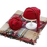 Juliyan 新生児 出産祝い ニューボーン スリーピングフォト ラップ 帽子 ブランケット クリスマス スタジオ用 コスチューム レッド
