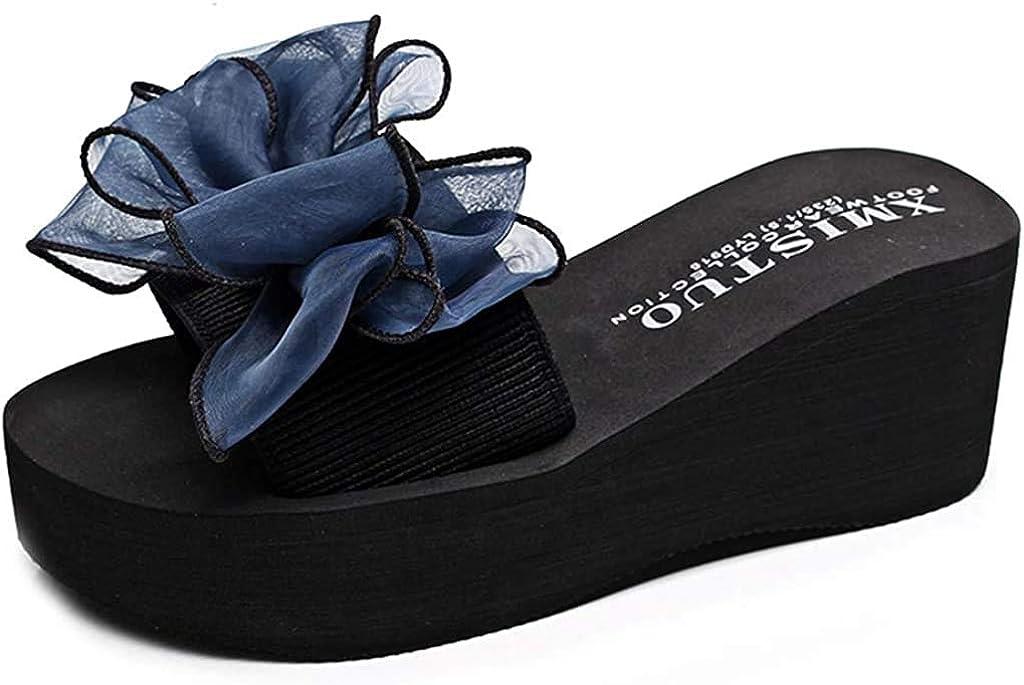 Women's Flowers Wedge Platform Slide Sandals Ladies Soft Breathable Comfort Summer Beach Backless Slippers