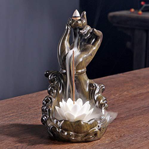 Rückfluss-Räuchergefäß, handgefertigt, Keramik, Rauch, Wasserfall-Räuchergefäß, Buddha mit 10 Kegeln für Zuhause, Yoga, Büro, Aromatherapie, Ornament (Lotus)
