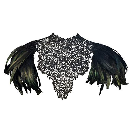 Homelex Gothic Victorian nero naturale piuma di pizzo scialle capo scialle