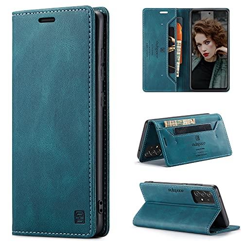 CaseNN Funda para Samsung Galaxy A52 5G/4G Carcasa con Tarjetero Fundas Tapa Libro de Cuero PU para Mujeres Hombres Premium Magnético Suporte con Bloqueo RFID Silicona Delgado - Azul-Verde
