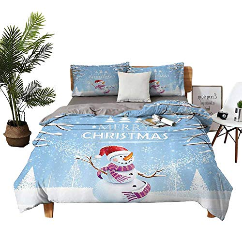 DRAGON VINES 4pcs Bedding Set FullSizeBed Queen Sheets Cute Snowman in a Snowy Winter Day with Xmas Hat Frosty Noel Kids Nursery Theme White Blue Red Quilt Cover W85 xL85