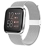 JuQBanke Bands Compatible for Fitbit Versa/Versa Lite Edition/Versa 2 Smart Watch for Women and Men,Metal Stainless Steel Replacement Wristbands for Fitbit Versa Smart Watch.Large,Silver