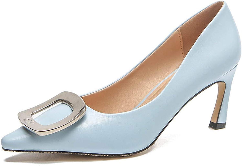 Meiren Autumn Fashion Slim High Heels Pointed Metal Buckle Women's shoes bluee