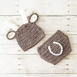 15099e69fa7821 Crochet Baby Deer Hat Beanie Diaper Cover Set Antlers Infant Newborn Baby  Handmade Photography Photo Prop