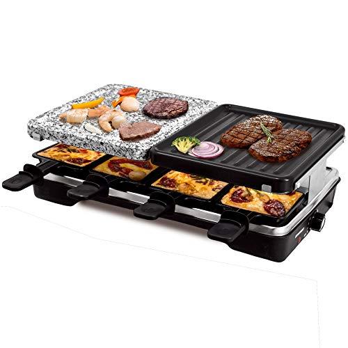 Syntrox Germany Multifunktionelles Raclette Brugg mit Grill und Heißer Stein für 8 Personen