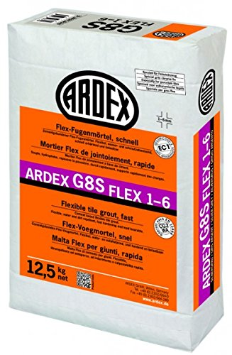 ARDEX G8S FLEX-Fugenmörtel 1-6 - 12,5 kg grau - Schnell erhärtender Flex-Fugenmörtel. Für Fugenbreiten von 1-6 mm, an Wand und Boden, im Innen- und Außenbereich.