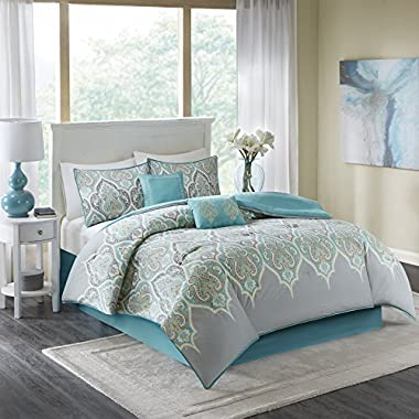 Comfort Spaces Mona Cotton printed Comforter Set - 6 Piece - Teal Grey - Paisley Design - Queen Size, includes 1 Comforter, 2 Shams, 1 Bedskirt, 2 Embroidered Decorative Pillows