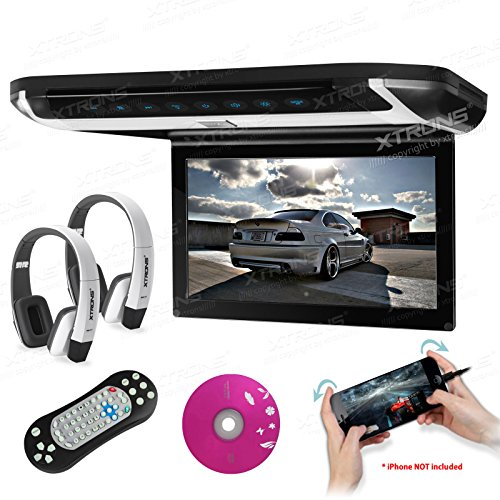 XTRONS 10  HD Digital TFT Monitor Car Roof Flip Down Overhead DVD Player Touch Panel Game Disc HDMI Port White IR Headphones Included (Grey)