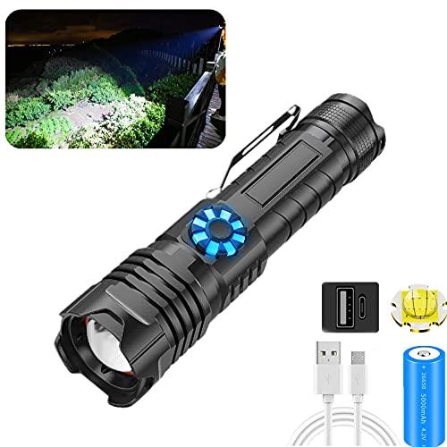 Antorcha LED táctica XHP99, recargable por USB, 100000 lúmenes, linternas súper brillantes, con 5 modos, atenuación continua, luz LED de antorcha potente impermeable con zoom