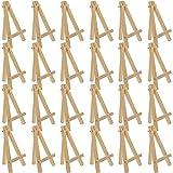 RWEAONT 24pcs 12.7cm Mini Stands de exhibición de Madera, caballetes, Soportes de Mesa, adecuados para artesanías Infantiles, Tarjetas de Visita (Color : Burlywood)