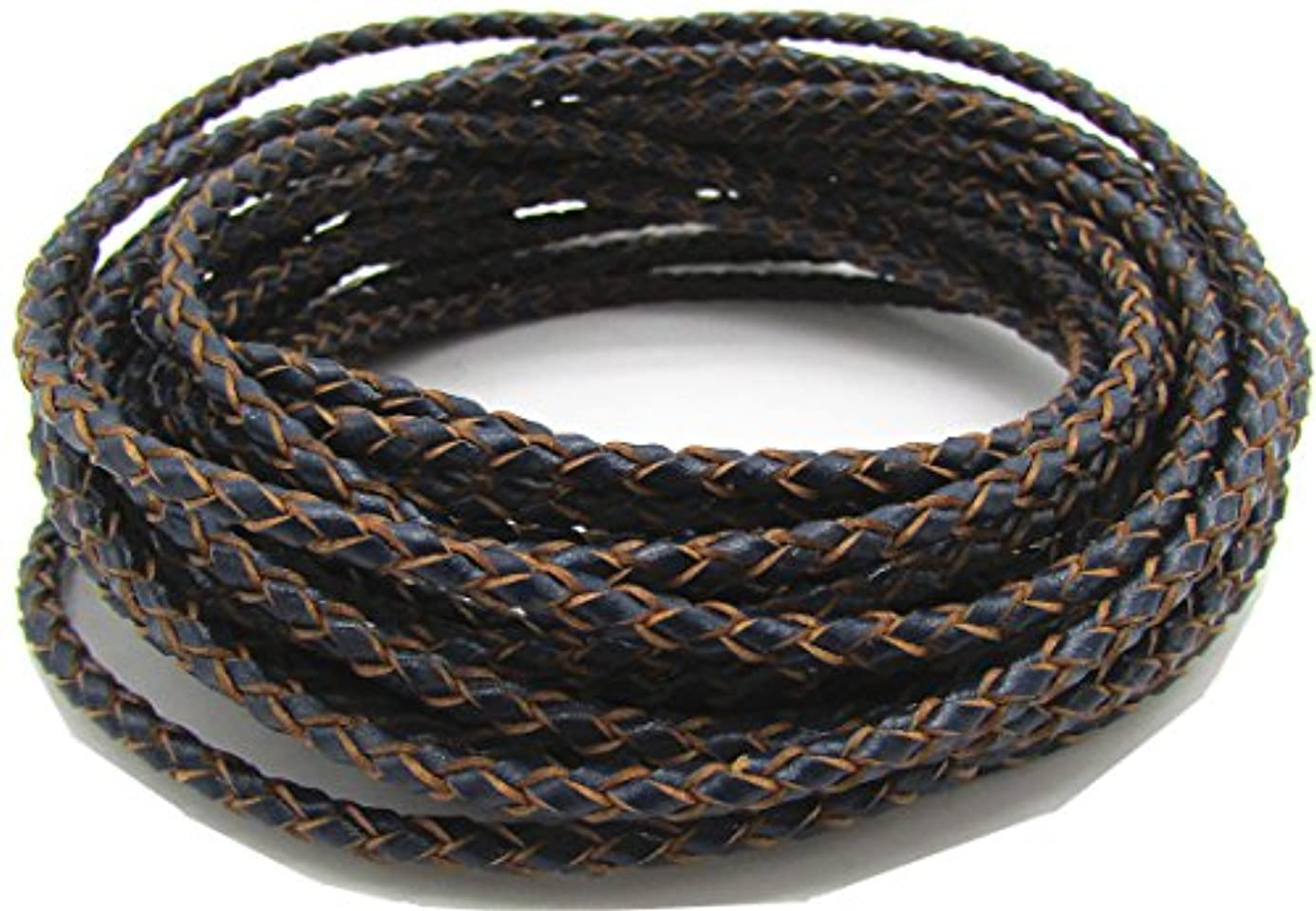 3mm Round Folded Genuine Leather Cords for Bracelet Necklace Jewelry Making 5 Meters (Navy Blue) stg7036709