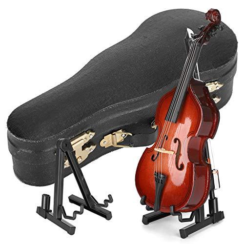 Atyhao Bajo de Madera en Miniatura, Modelo de bajo de Madera Mini Instrumento Musical Modelo de casa de muñecas en Miniatura Decoración del hogar Regalo con Soporte y Estuche