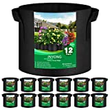 JNYONG 12-Pack 3 Gallon Thickened Non-Woven Grow Bags, Aeration Fabric Pots with Handles