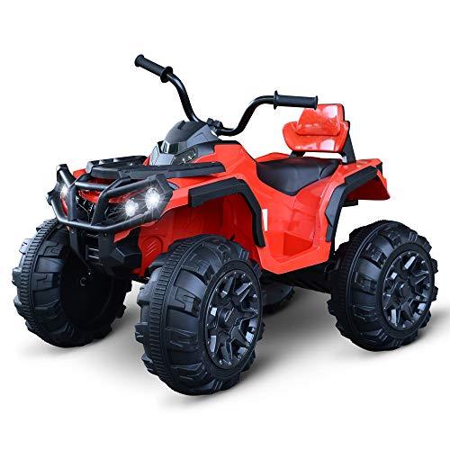 homcom Quad per Bambini Elettrico Batteria 12V 2 velocità con Luci e Presa USB Ruote Ammortizzate, Rosso, 103x68x73cm