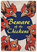チキンに注意してくださいブリキの看板壁の装飾金属ポスターレトロプラーク警告看板オフィスカフェクラブバーの工芸品