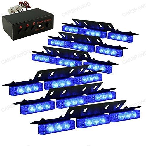 LifeUp La balise d'avertissement clignotant d'urgence de danger de 12V s'allume pour le véhicule, 54 LED Lumières stroboscopiques dans la voiture voiture pont avant grille arrière (Bleu)